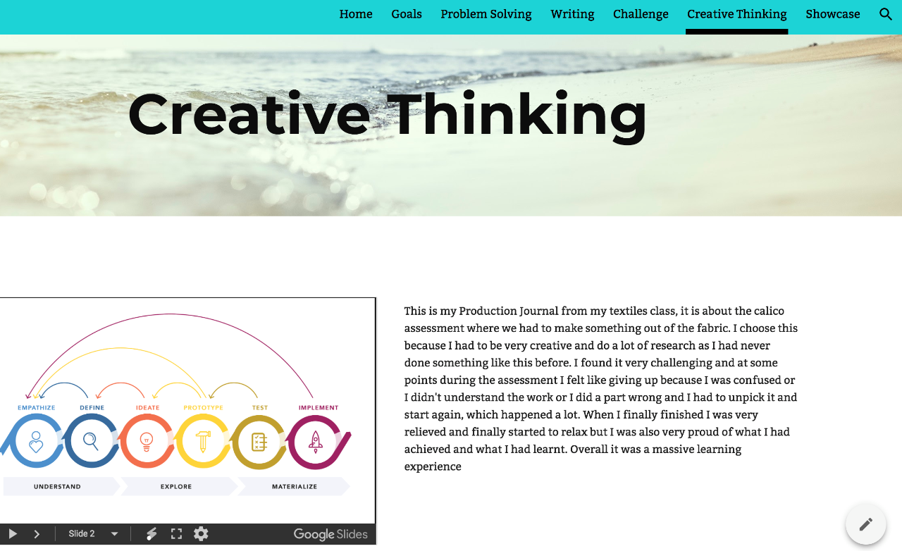 An ePortfolio page explaining what a student has learnt about Creative Thinking .