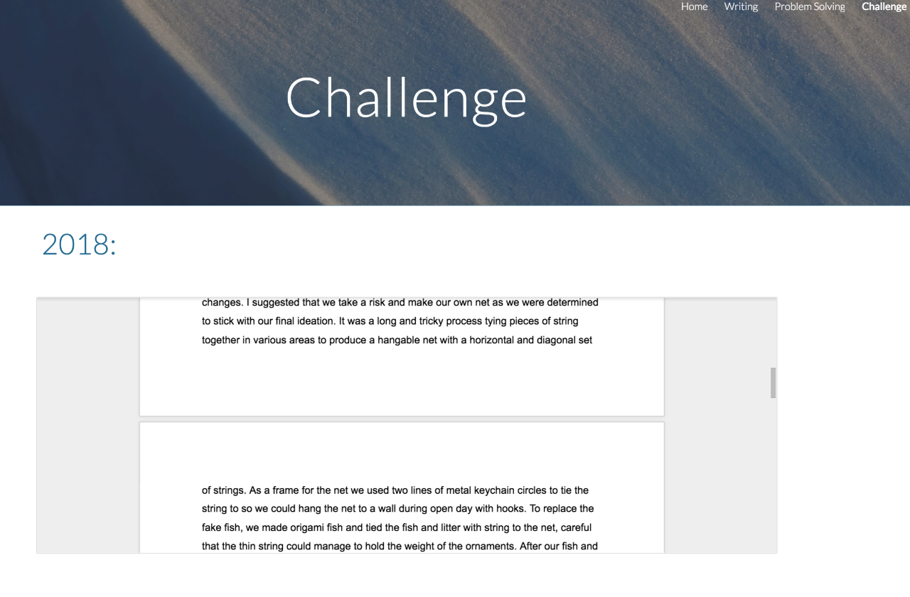 Challenge and what it means, explained by a student in their ePortfolio