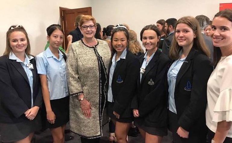 Our five year 12 students with Foreign Minister Marise Payne