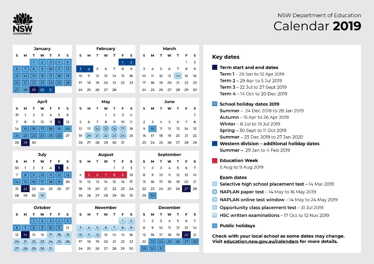 2019 School Calendar Riverside Girls High School